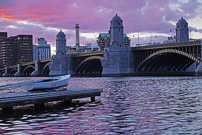 Photograph - Sunset Over The Longfellow Bridge Boston Ma Charles River by Toby McGuire