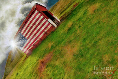 Photograph - Sunset Over Vasco American Flag Barn Brentwood Ca by Blake Richards