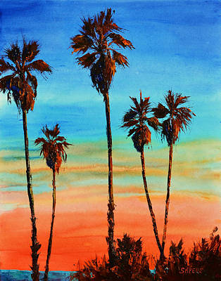 Lynee Sapere Wall Art - Painting - Sunset Palms by Lynee Sapere