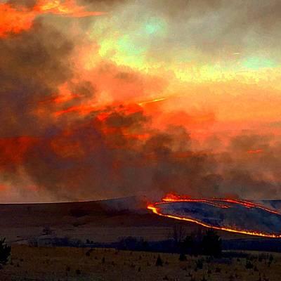 Photograph - Sunset Prairie Burn by Michael Oceanofwisdom Bidwell