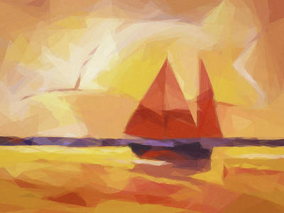 Painting - Sunset Sails Graphic by Lutz Baar