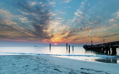 Sunset Seascape And Beautiful Clouds Art Print