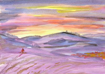 Painting - Sunset Ski Trip by Dobrotsvet Art