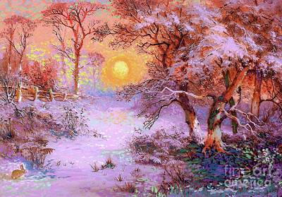 Best Sellers - Landmarks Painting Royalty Free Images - Sunset Snow Royalty-Free Image by Jane Small