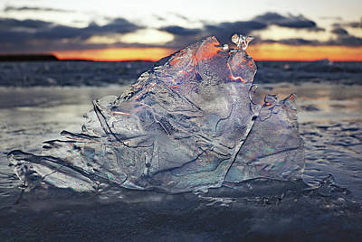 Photograph - Sunset Through The Ice by David T Wilkinson