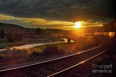 Photograph - Sunset Train by Steve Ondrus