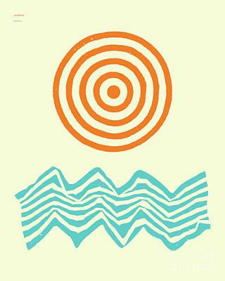 Artwork Digital Art - Sunshine And Waves by Jazzberry Blue