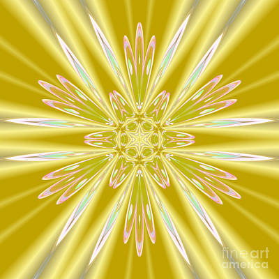 Digital Art - Sunshine Gold Star by Rachel Hannah