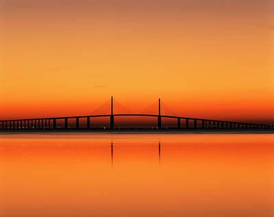 Sunshine Skyway Bridge Wall Art - Photograph - Sunshine Skyway Bridge Over Tampa Bay by Danita Delimont