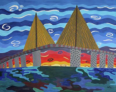 Painting - Sunshine Skyway Bridge, St. Petersburg Fl by Stephanie Agliano