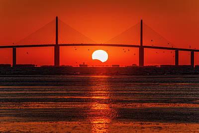 Photograph - Sunshine Skyway Eclipse Below by Al Hann