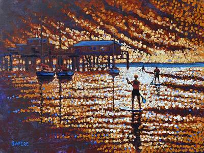 Lynee Sapere Wall Art - Painting - Sup Avila Beach by Lynee Sapere