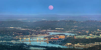 Photograph - Super Moon Over Chattanooga by Steven Llorca