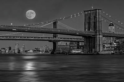 Photograph - Super Moon Over Manhattan And Brooklyn Bridges Nyc Bw by Susan Candelario