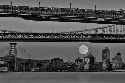 Photograph - Super Moon Over Manhattan New York City Nyc Bridges Bw by Susan Candelario