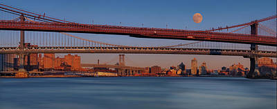 Photograph - Super Moon Over Nyc Bridges Pano by Susan Candelario