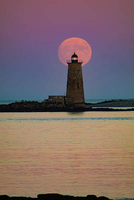 Photograph - Supermoon Over Maine Lighthouse by Jeff Folger
