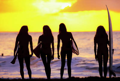 Photograph - Surf Girl Silhouettes by Sean Davey