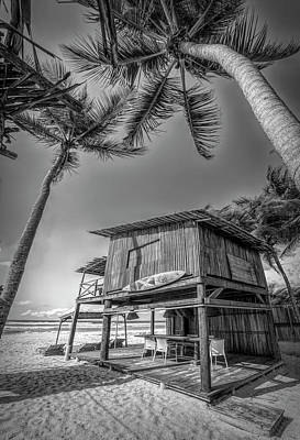 Photograph - Surf Shack On The Beach In Black And White by Debra and Dave Vanderlaan