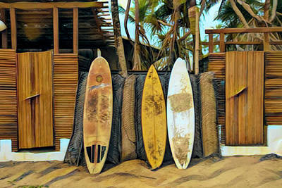 Photograph - Surfboards Island Style Boards And Bamboo by Debra and Dave Vanderlaan