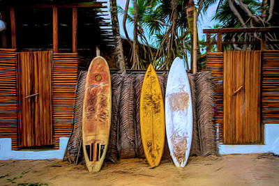 Photograph - Surfboards Island Style Under The Palms by Debra and Dave Vanderlaan