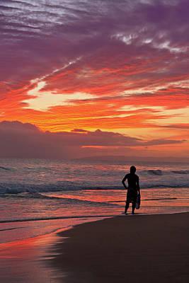 Photograph - Surfer Dude On Hawaiian Beach, Sunset by Royce Bair