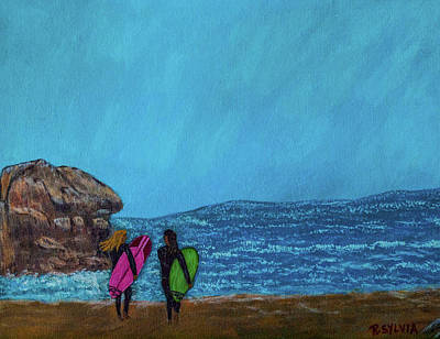 Painting - Surfer Girls by Randy Sylvia