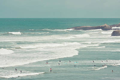 Waves Photograph - Surfers Lying In Ocean by Cindy Prins