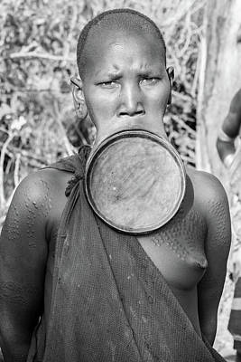 Photograph - Suri Woman With Disk  by Mache Del Campo