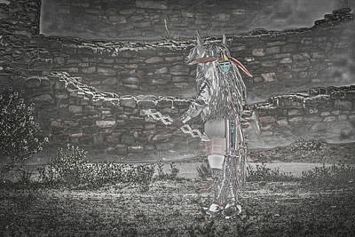 Surrealism Royalty-Free and Rights-Managed Images - Surreal Acoma Pueblo Buffalo Man at Aztec Ruins by Brenda Landdeck