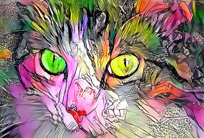 Surrealism Royalty-Free and Rights-Managed Images - Surreal Cat Wild Eyes by Don Northup