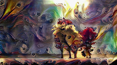 Surrealism Digital Art - Surreal colorful trees by Bruce Rolff