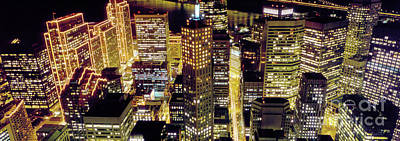 Surrealism Royalty-Free and Rights-Managed Images - Surreal Downtown San Francisco at Night by Wernher Krutein