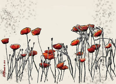 Best Sellers - Surrealism Royalty-Free and Rights-Managed Images - Surreal Group of Poppies by David Werner