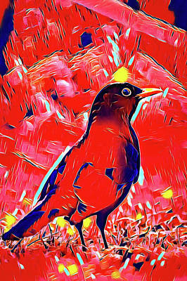 Surrealism Digital Art - Surreal red raven by Matthias Hauser