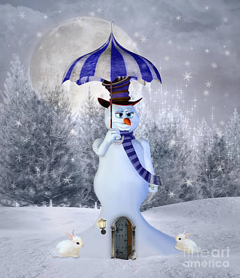 Surrealism Royalty-Free and Rights-Managed Images - Surreal snowman with an umbrella by EllerslieArt