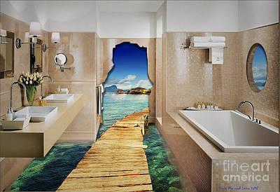 Digital Art - Surrealistic Bathroom by Lutz Roland Lehn