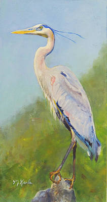 Painting - Surveyor - Great Blue Heron by Marsha Karle