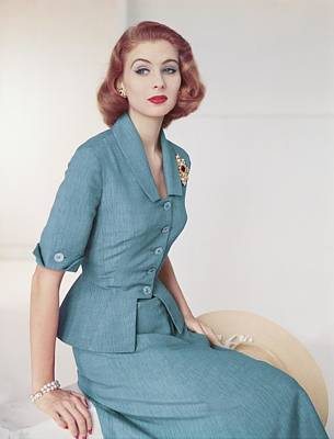 Photograph - Suzy Parker In A Brigance Suit by Horst P. Horst