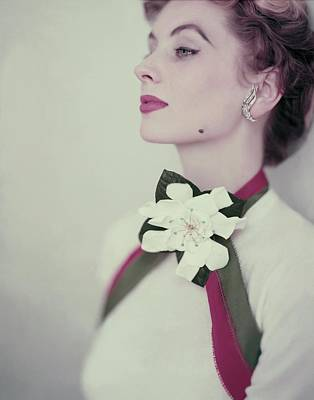 Photograph - Suzy Parker In A Pringle Sweater by Horst P. Horst
