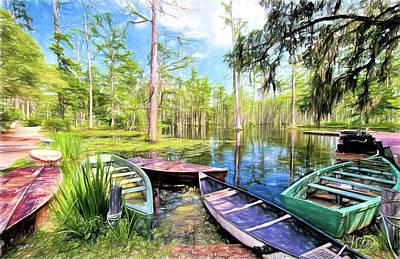 Painting - Swamp Boats Waiting Ap by Dan Carmichael