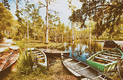 Photograph - Swamp Boats Waiting Fx by Dan Carmichael