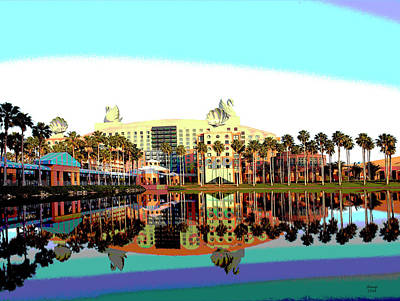 City Sunset Mixed Media - Swan Dolphin Hotel Orlando by Charles Shoup