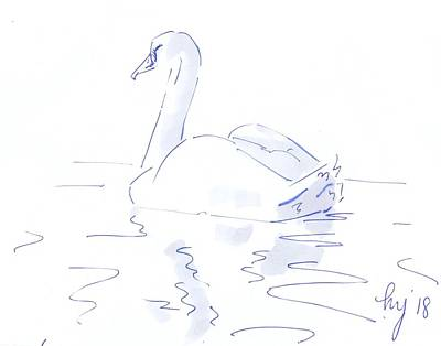 Drawing - Swan Drawing Simple Lines by Mike Jory