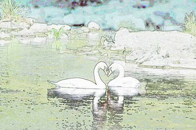 Birds Rights Managed Images - Swan Heart Love you Forever Royalty-Free Image by Marlin and Laura Hum