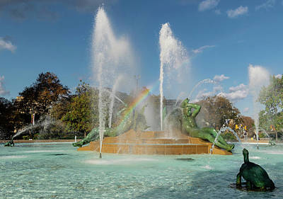 Wall Art - Photograph - Swann Fountain With Rainbow by Steven Richman