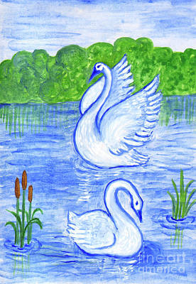 Painting - Swans by Dobrotsvet Art