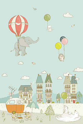 Drawing - Sweet Animals Having Fun Cute And Whimsical Art For Kids by Matthias Hauser