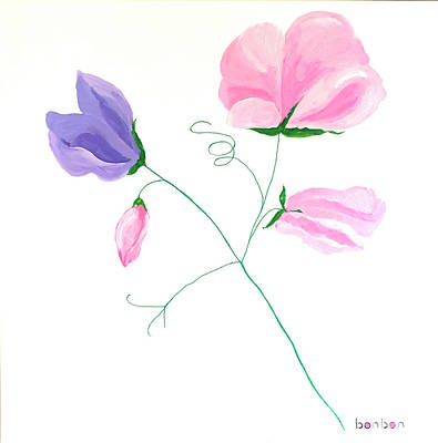 Painting - Sweet Peas by Bonnie Owen