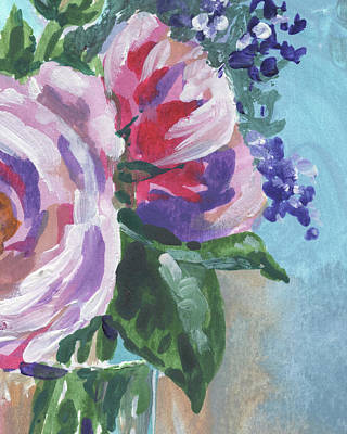 Painting - Sweet Pink And Purple Flowers Bouquet Impressionism  by Irina Sztukowski